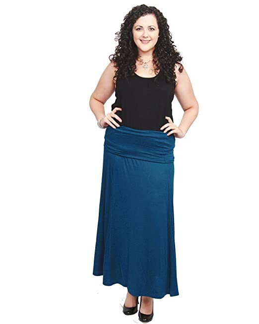 5d92ca1ee311 SWAK Sealed With a Kiss Women's Plus Size Fold Over Waist Maxi Skirt - 1X  Blue