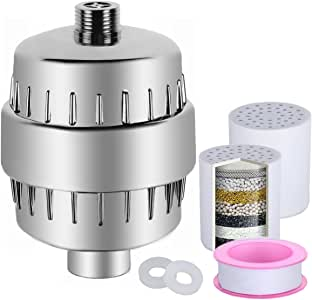 Purificador de agua para duchas y bañeras LEF de 10 etapas, universal, con 2 filtros, 2 anillos selladores y una cinta de teflón para eliminar cloro, metales pesados, bacterias y azufre: Amazon.es: