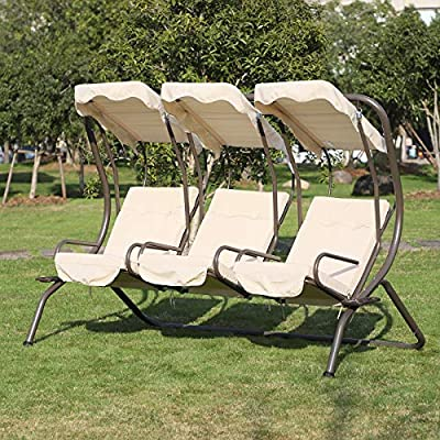 Outsunny-3-Seater-Outdoor-Garden-Swing-Chairs-Padded-Seat-Single-Seat-Hammock-Canopy-with-Cup-Holders-Porch-Patio-Beige