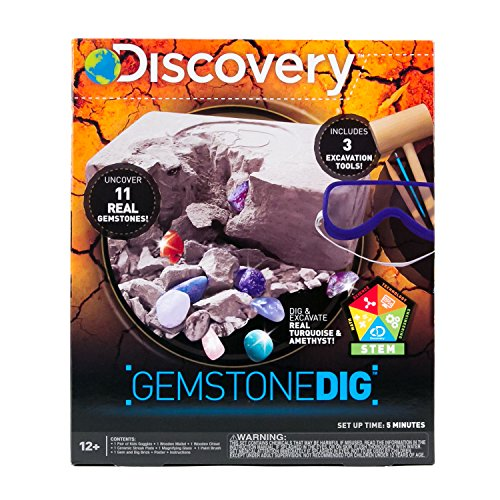 (Discovery Kids Gemstone Dig Stem Science Kit by Horizon Group USA, Excavate, Dig & Reveal 11 Real Gemstones, Includes Goggles, Excavation Tools, Streak Plate, Magnifying Glass & More)