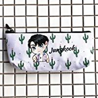 LLflow BTS Pencil Case, Kpop Bangtan Boys Jungkook, Jimin, V, Suga, Jin, J-Hope, Rap Monster Waterproof Weaving Stationery Pouch Bag with Zipper for A.R.M.Y(JUNGKOOK)