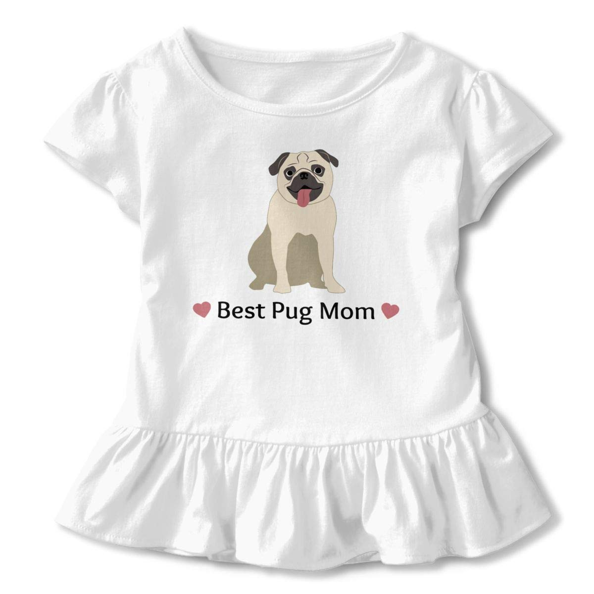 JVNSS Best Pug Mom T-Shirt Baby Girl Flounced T Shirts Soft Cotton Tops for 2-6T Baby Girls
