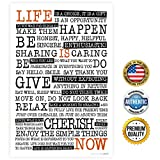 "ZENDORI POSTER ""Life Is NOW"" Manifesto Poster Print on Canvas Paper (No Frame) – Wall Quote – Made in USA – 12″ x 18″ Picture"