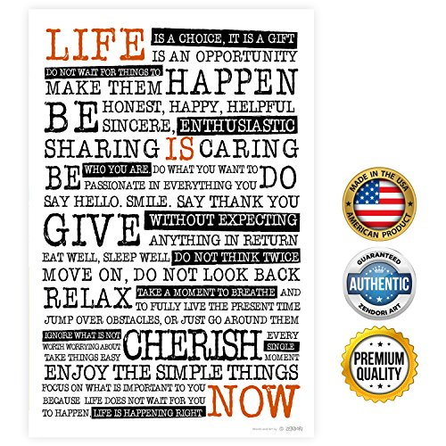 "Motivational Inspirational Quotes: ZENDORI ART ""Life Is NOW"" Motivational Wall Art Decor"