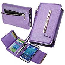 Case for Samsung S4, xhorizon TM SR [Upgraded] 2 in 1 Premium Bling Leather Wallet Crystal Button Closure Magnetic Car Mount Phone Holder Compatible Folio Case for Samsung Galaxy S4 i9500 - Purple