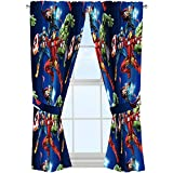 Boys Curtains Marvel Avengers 'Blue Circle' Microfiber Curtain Panel Pair with Tiebacks Set