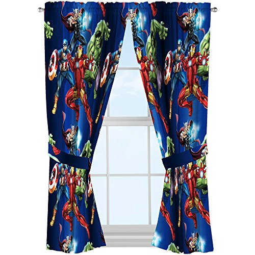 Marvel Avengers Microfiber Curtains with Tiebacks