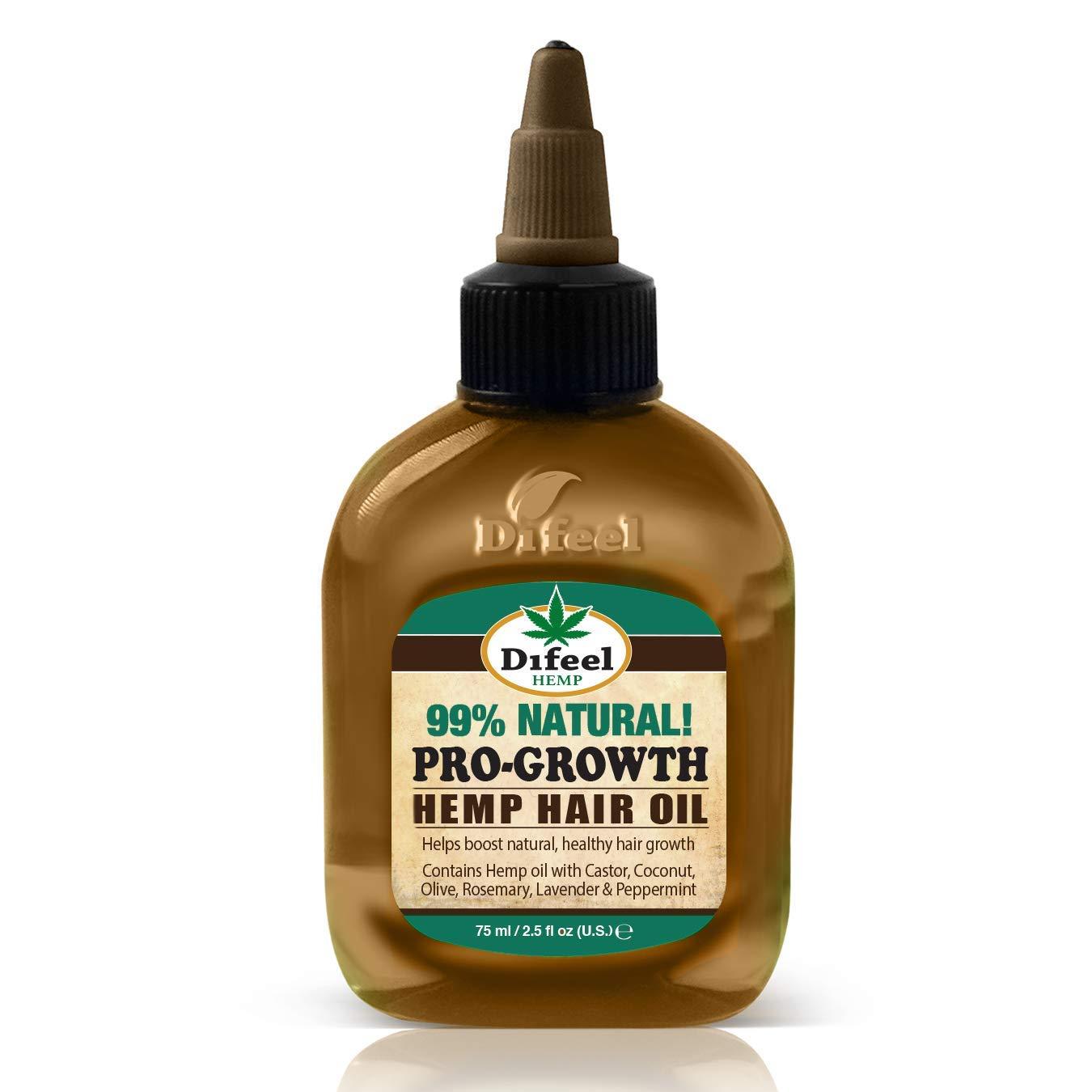 Difeel Hemp 99% Natural Hemp Hair Oil - Pro-Growth 2.5 ounce