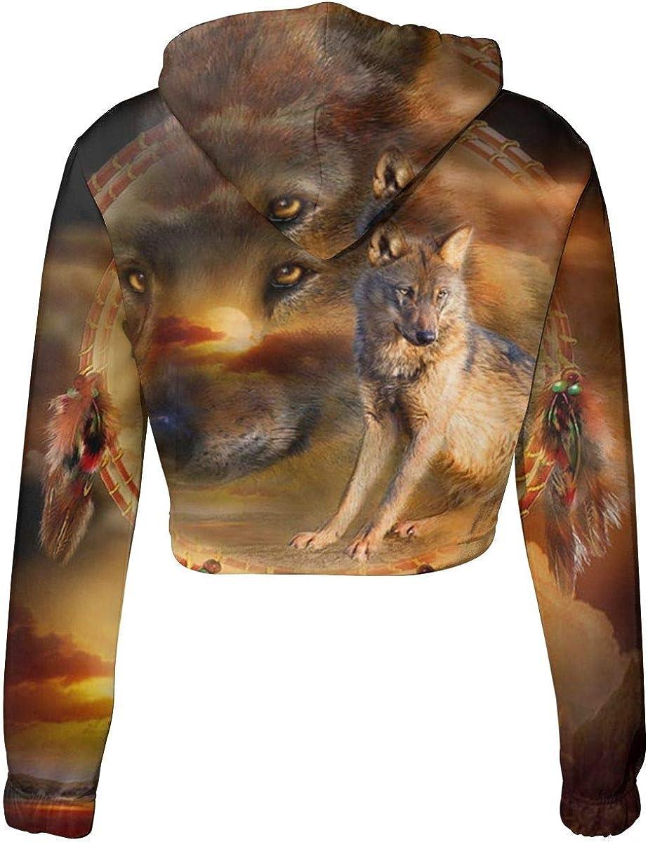 VANMASS Womens/&Girls Sweater Wolf Cropped Hooded Pullover Sweatshirt Blouse