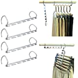 MIU COLOR Metal Magic Wonder Closet Hangers, Wardrobe Space Saving Saver Clothes Coat Hanging Storage Organiser 4 Pack