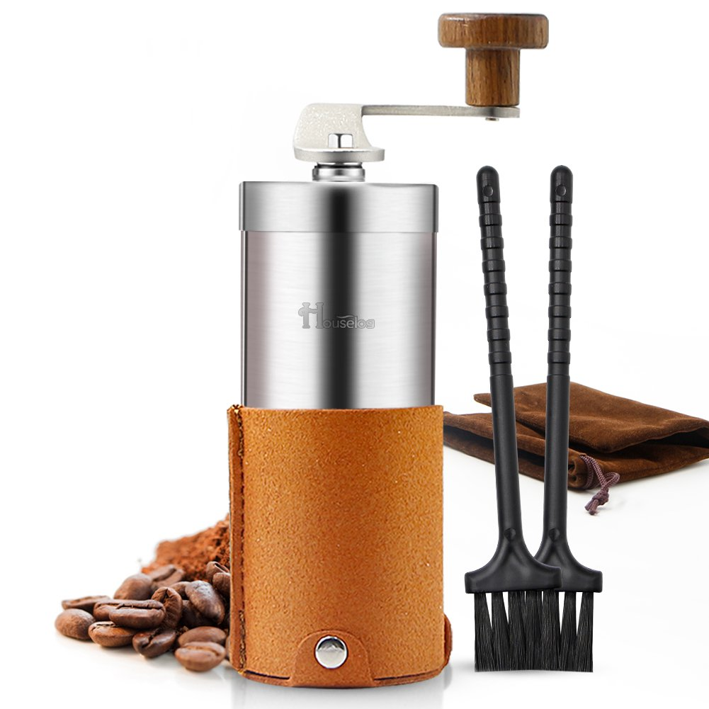 2018 New Portable Manual Coffee Grinder Set Professional Conical Ceramic Burrs Stainless Steel Grinder Easy to Clean for Home Travel Outdoor by RioRand (Image #1)