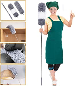 Microfiber Duster with 100 Inches Extendable Pole, Detachable & Bendable Microfiber Duster, Stainless Steel Extra Long Telescopic Dusters
