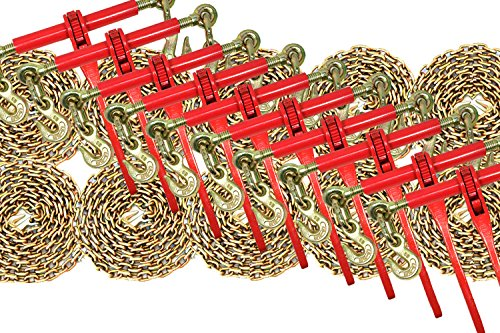 5/16 Transport Hauling Load Package - 10x Ratchet Binders - 10x 20' Foot Chains