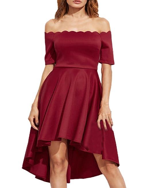 Auxo Faldas Plisadas Elegante Mujer Traje de Gala sin Hombro Midi Vestidos de Fiesta Noche Rojo