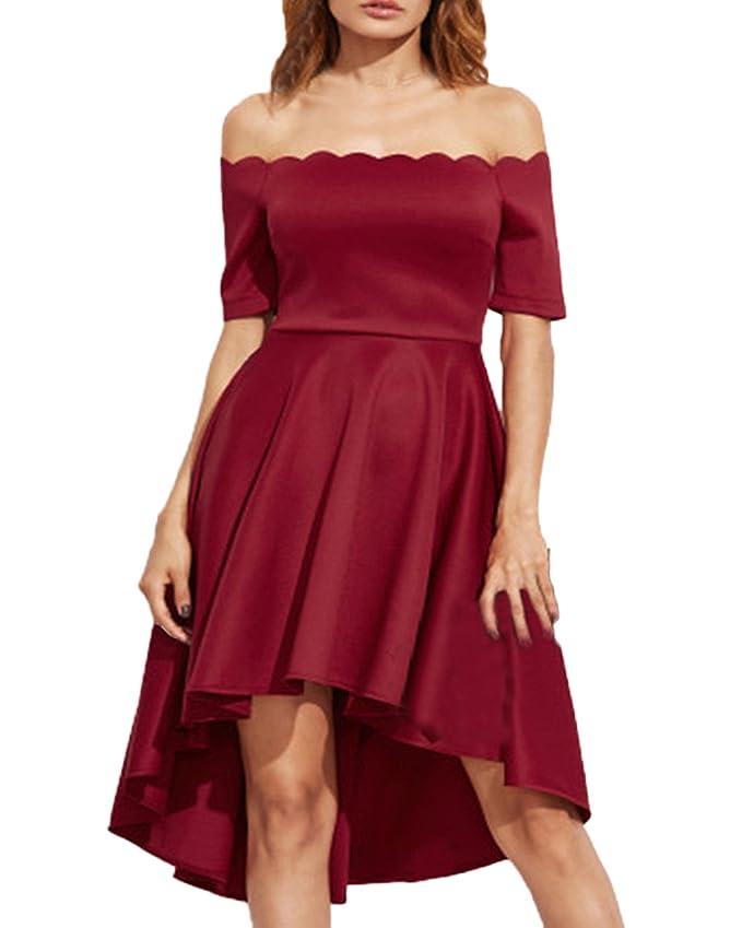 Auxo Faldas Plisadas Elegante Mujer Traje de Gala sin Hombro ...