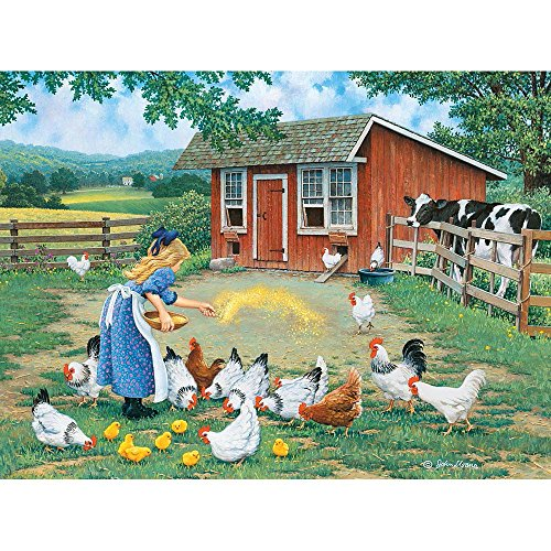 Bits and Pieces - 300 Large Piece Jigsaw Puzzle for Adults - Gather Round, Chickens on the Farm - by Artist John Sloane - 300 pc Jigsaw For Adults