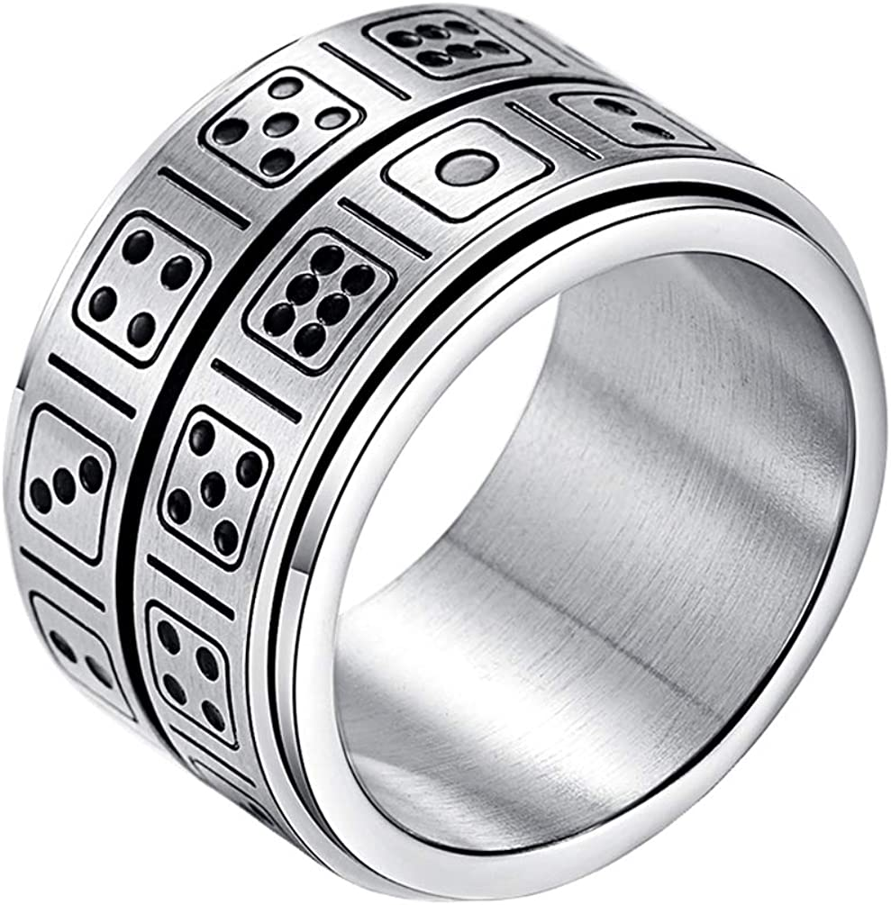 INRENG Men's Stainless Steel 14mm Wide Spinner Ring Band Creative Dice Pattern Design Double Layers