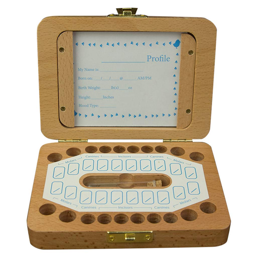 Lukame Marco de imagen de caja de madera de dientes de leche de ...