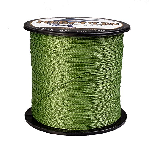 HERCULES Super Strong 500M 547 Yards Braided Fishing Line 30 LB Test for Saltwater Freshwater PE Braid Fish Lines 4 Strands – Army Green, 30LB (13.6KG), 0.28MM Review