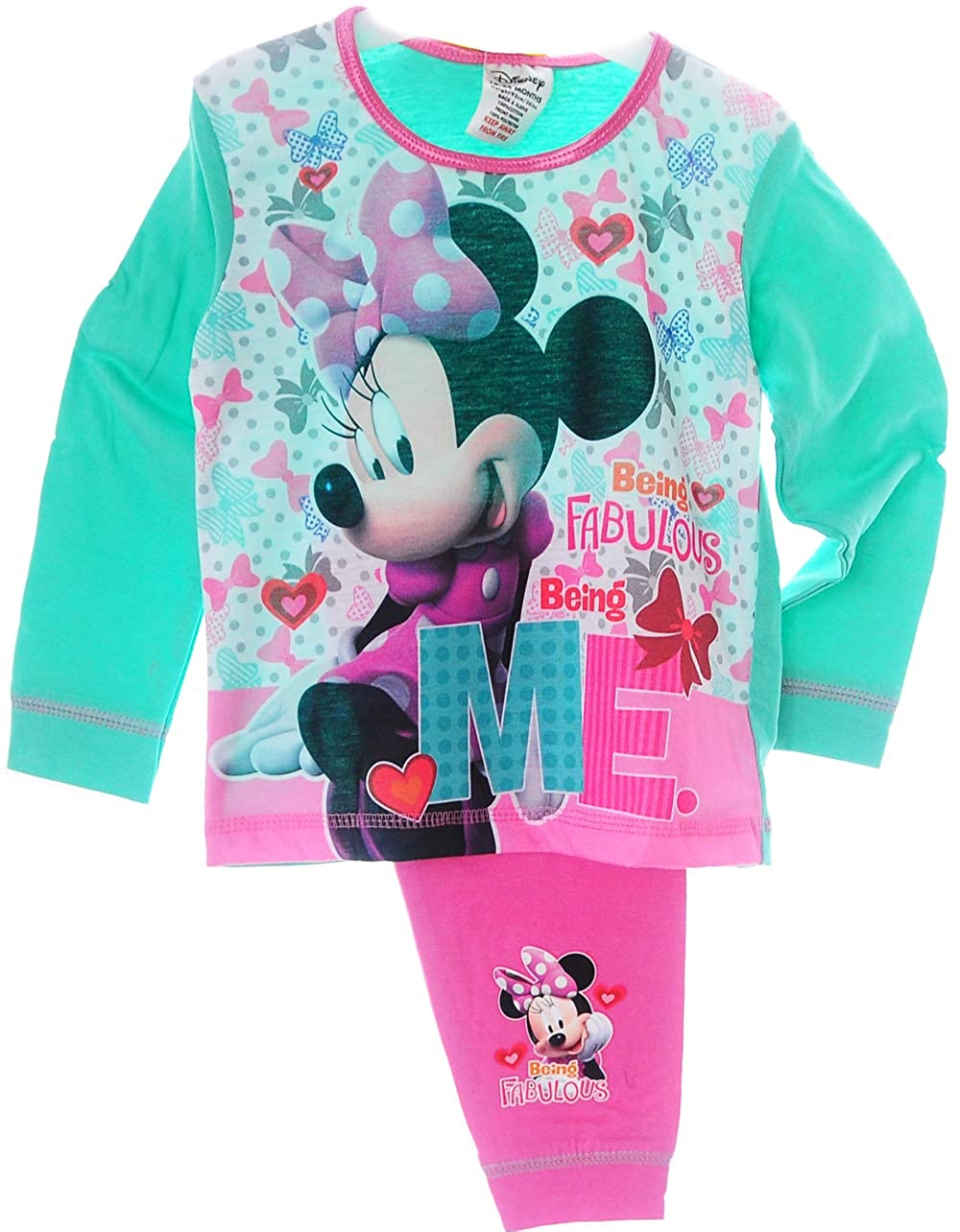 Minnie Mouse Baby Kinder Pyjama Schlafanzug Set Shirt Hose Rosa