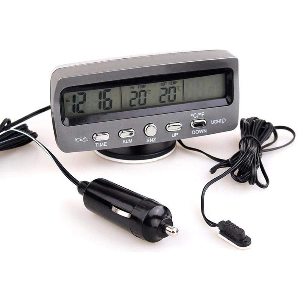 3-in-1 Multifunctional Car Clock 2 Colors Night Light Indoor Outdoor Thermometer Voltmeter Clock with LCD Display