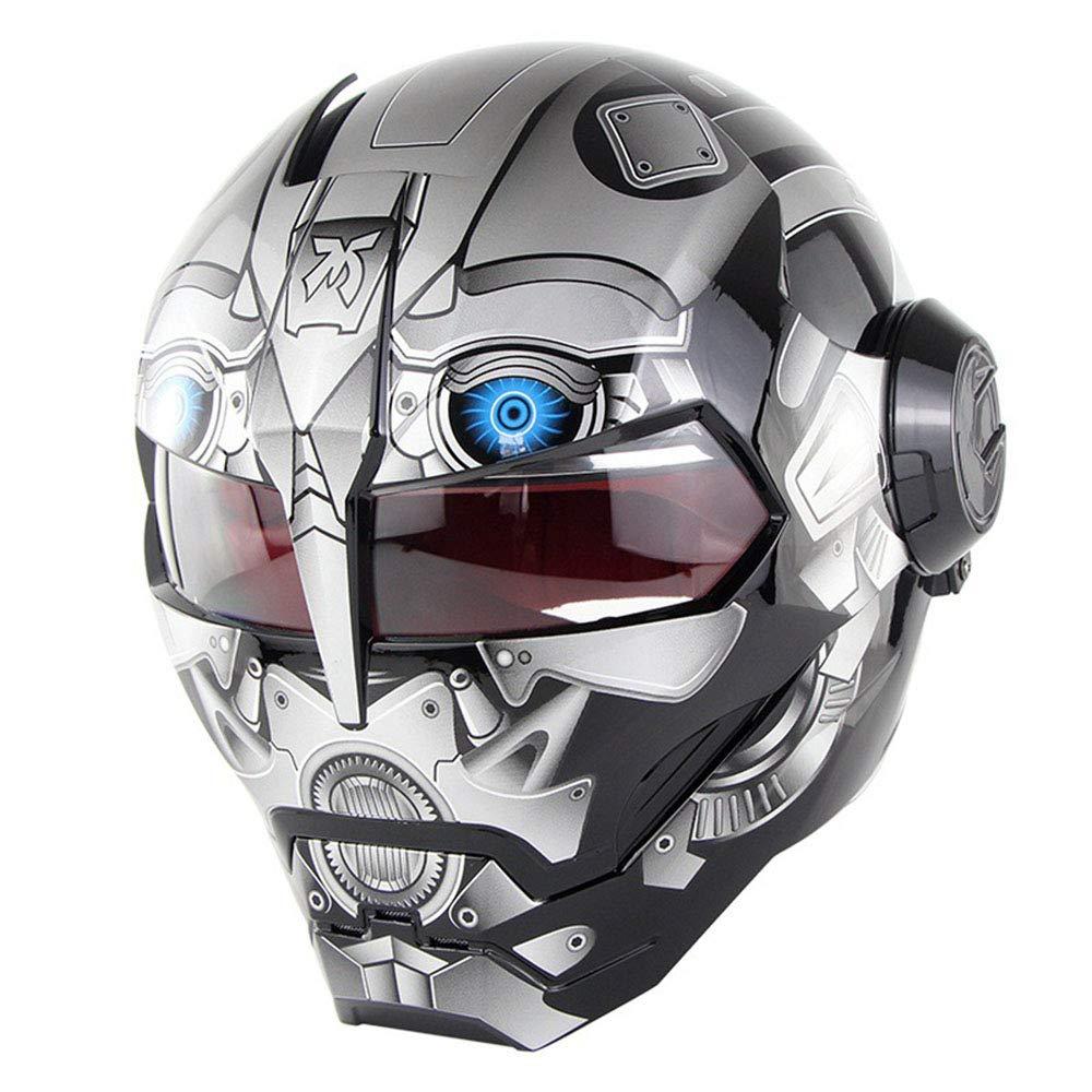 WMING Casco de Motocicleta/Transformadores de Harley Retro Que descubren Casco/Casco de Cara Completa de Iron Man