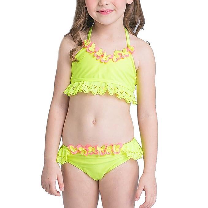 Volante Bikini Halter Surf Girls Diseño De Traje De Baño De Dos Piezas De Color Amarillo: Amazon.es: Ropa y accesorios
