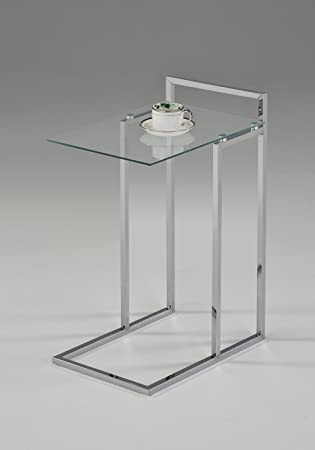 Chrome Finish Clear Tempered Glass Snack Side End Table 25 H