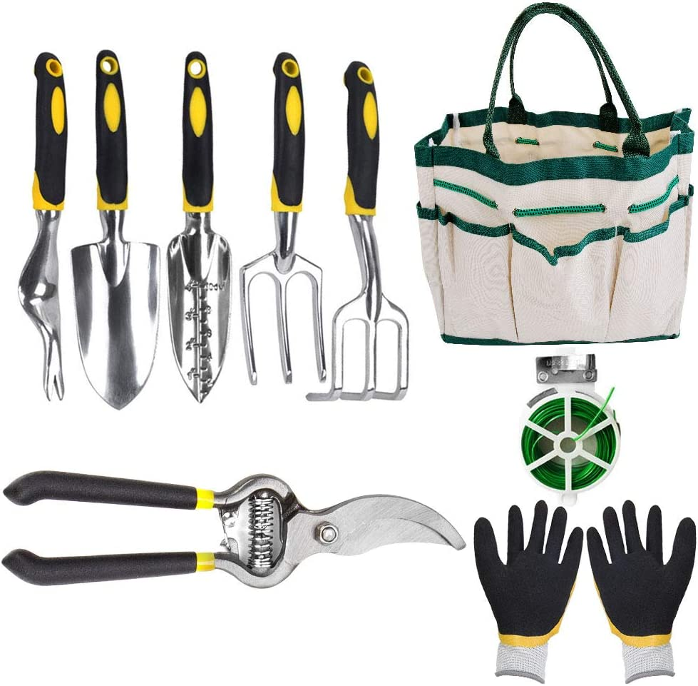 Garden Tools Set, 9 Piece Aluminum Heavy Duty Gardening Kits, Planting Tools, Garden Shovel, Rake, Gloves, Binding Wire and Pruner, Great Gift for Women and Men
