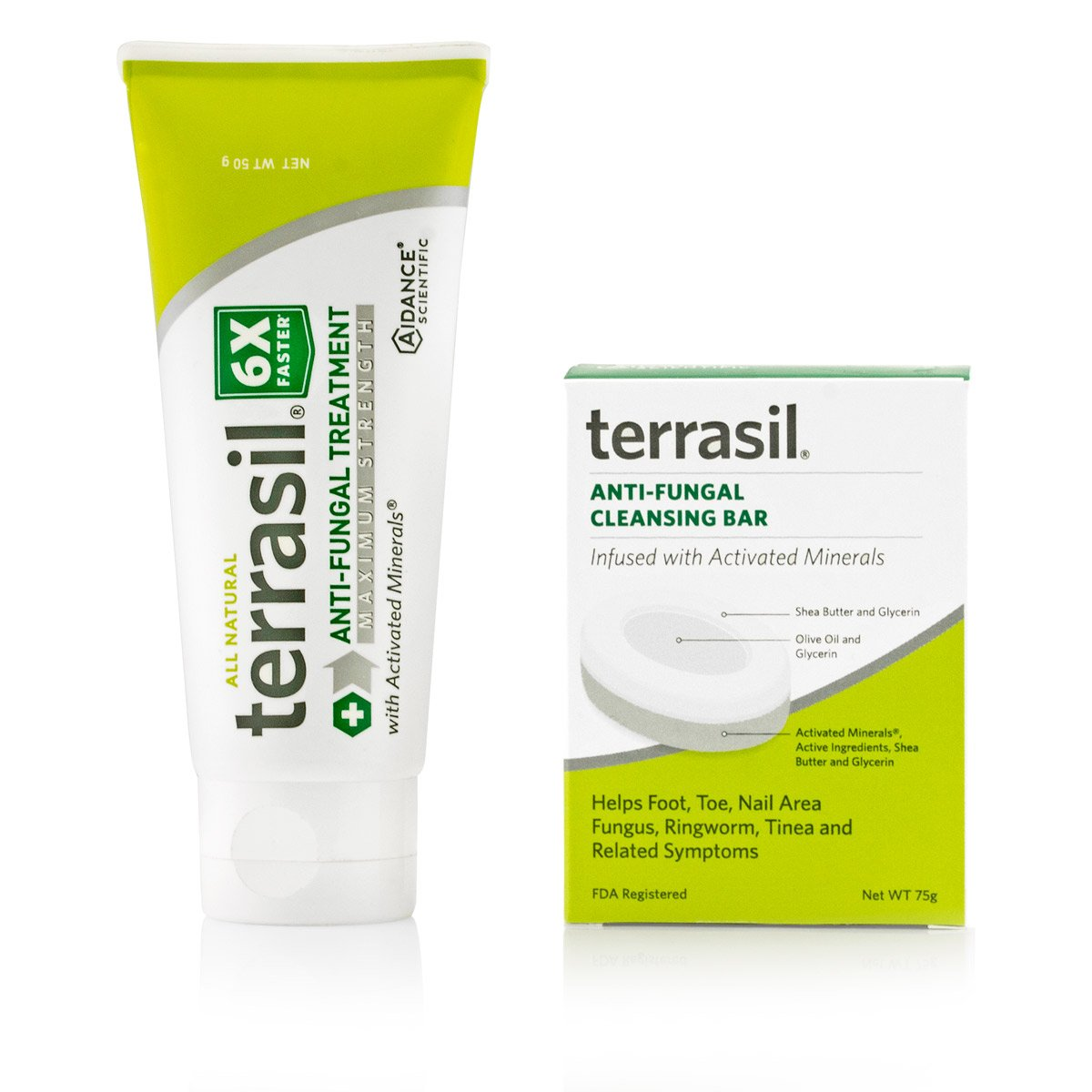 terrasil® Anti-fungal Treatment MAX + Anti-fungal Cleansing Soap - 6X Faster Doctor Recommended 100% Guaranteed All-Natural Soothing Clotrimazole OTC-Registered - Complete Treatment- 50g + Bar by Aidance Skincare & Topical Solutions
