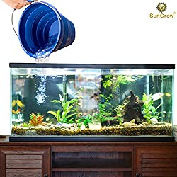 SunGrow Collapsible Aquarium Bucket - Use for Quarantining Sick Fish - Sick Bay Bucket - Great Bucket for Partial Water Changes - Collapsible, and Stores Flat to Save Space and Easy Storage