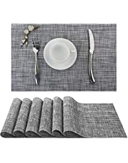 ADRIMER Placemats for Dining Table Set of 6, Non-Slip Heat Resistant Place Mats, Washable Kitchen Table Mat, 45 x 30cm, Grey