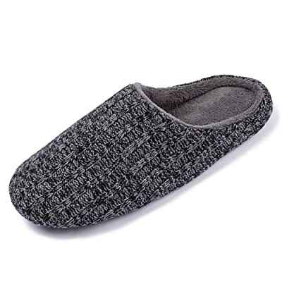 iEasey Winter Warm Slip on Slippers Indoor Anti Skid House Mule Clog Slippers Black-Grey | Slippers