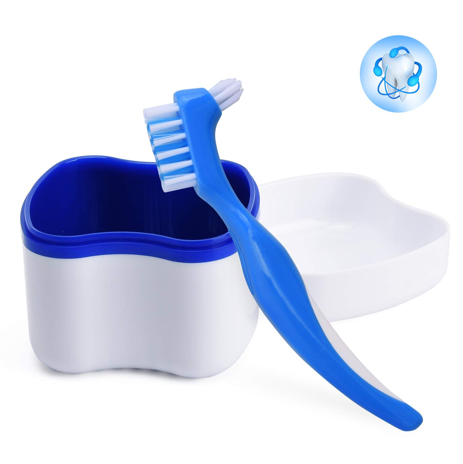 Denture Cleaning Case, Denture Box with Brush, Denture Bath Soaking Cup with Strainer Dental Retainer Container for Cleaner, Store and Retrieve