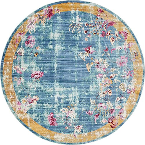 Luxury Traditional Vintage Modern Rugs 6' x 6' FT Round Blue Troy Collection Area Rug - Magnificent Living Room - Dinning room - Sitting room - Top Home Décor