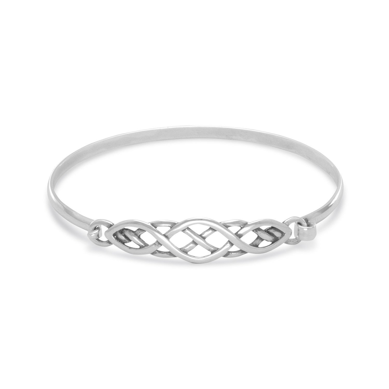 a4b68a3a679 Amazon.com: Celtic Knot Style Sterling Silver Bangle Bracelet Small Size:  Jewelry