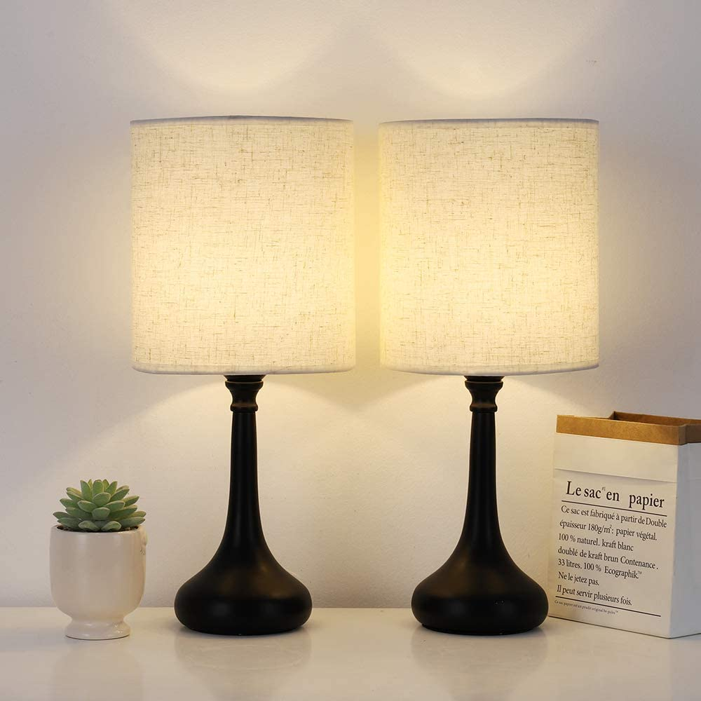 Amazon Com Bedside Table Lamps Set Of 2 Desk Modern Nightstand Lamps With Black Metal Base Ivory White Fabric Lamp Shade For Bedrooms Living Room Without Bulb Home Improvement