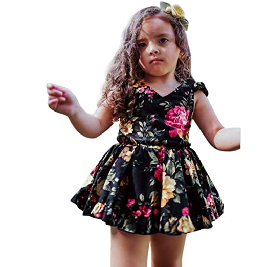 00d4909910 Sagton® Toddler Kids Baby Girls Clothes Floral Dress Sleeveless Princess  Dress (Black