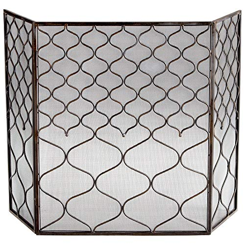 - Zinc Decor Iron Fireplace Screen 3 Panel Design w/Protective Mesh Backing