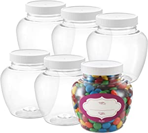 Pack of 6 - Round Clear Plastic Jars - Empty Plastic Storage containers with Lids - Plastic Jar with Air Tight Lids – Candy Jars – Spice Jars - Food Grade BPA Free Small Jars- (16 Oz)