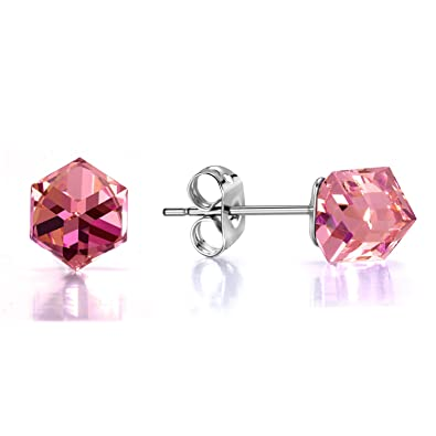 3682a6a4a Stud Earrings Pink Swarovski Crystal Aurora Borealis Square Hypoallergenic Silver  Tone Colorful Cubic CZ Earrings Mother's