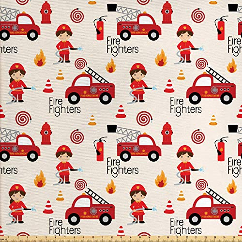 Lunarable Fire Truck Fabric by The Yard, Little Boys and Girls in Uniforms Fire Fighters Theme Career Profession Pattern, Decorative Fabric for Upholstery and Home Accents, 2 Yards, Red Cream (Truck Accents)