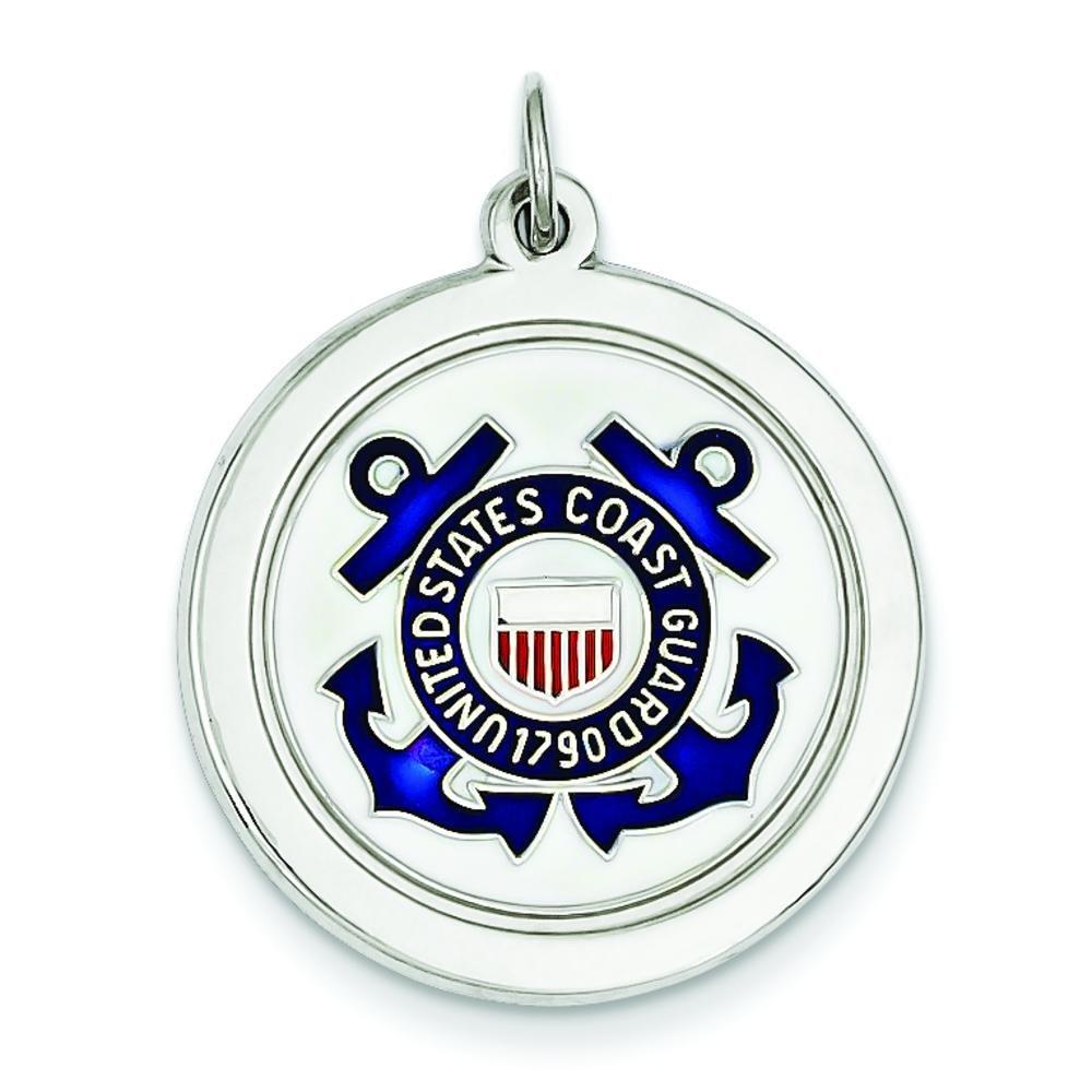 Sterling Silver U.S. Coast Guard Round Charm