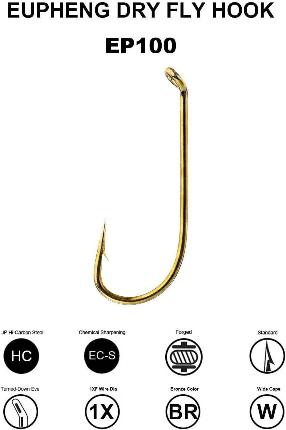 Bronze up eye dry fly hooks size 12  100 hooks