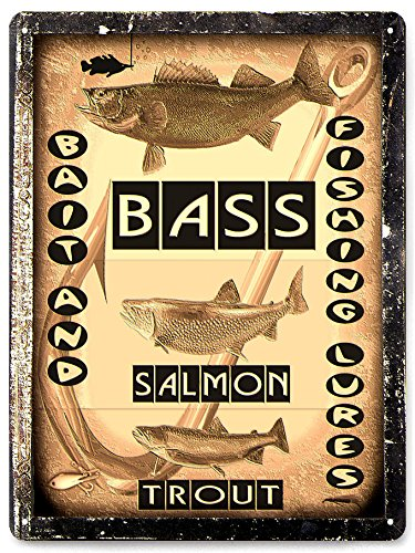 (fishing lures bait metal sign fishing Bass salmon trout mancave vintage style gift wall decor 279)