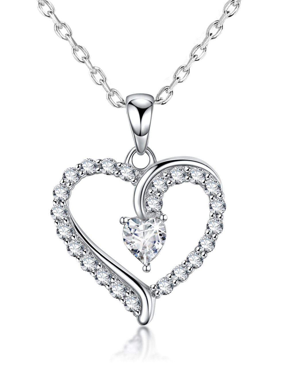 You Are the Only One Love Heart Pendant Gifts for Wife for Women Diamond Necklace Jewelry Birthday Anniversary Gifts for Her Daughter Girlfriend Sterling Silver Swarovski 18''+2'' Chain