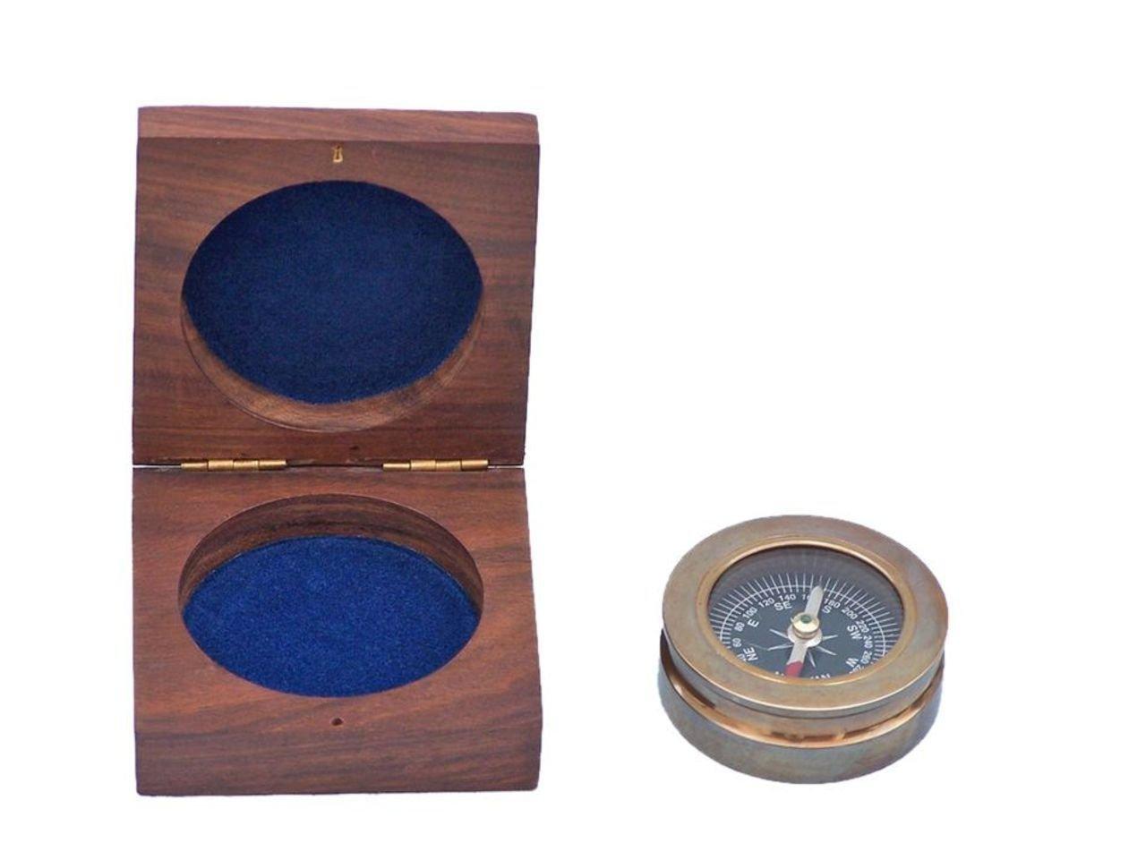 Hampton Nautical Handarbeit Maritimes Dekor Old Schreibtisch Kompass Briefbeschwerer, Messing, Messing antik-Optik, 7,6 cm