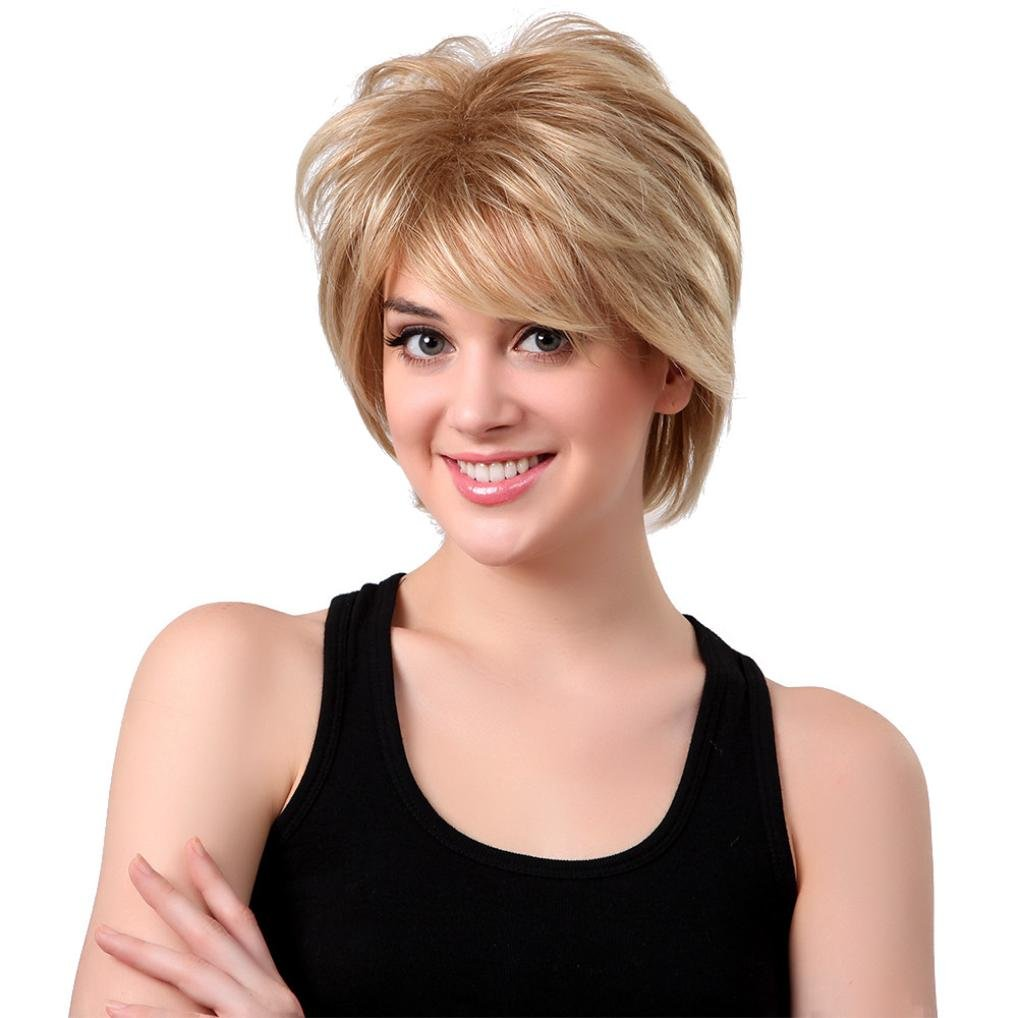 AMA(TM) Brazilian Natural Short Layered Fluffy Shaggy Wigs Heat Resistant Full Straight Wig Synthetic Hair With Bangs For Black Women (Blonde)