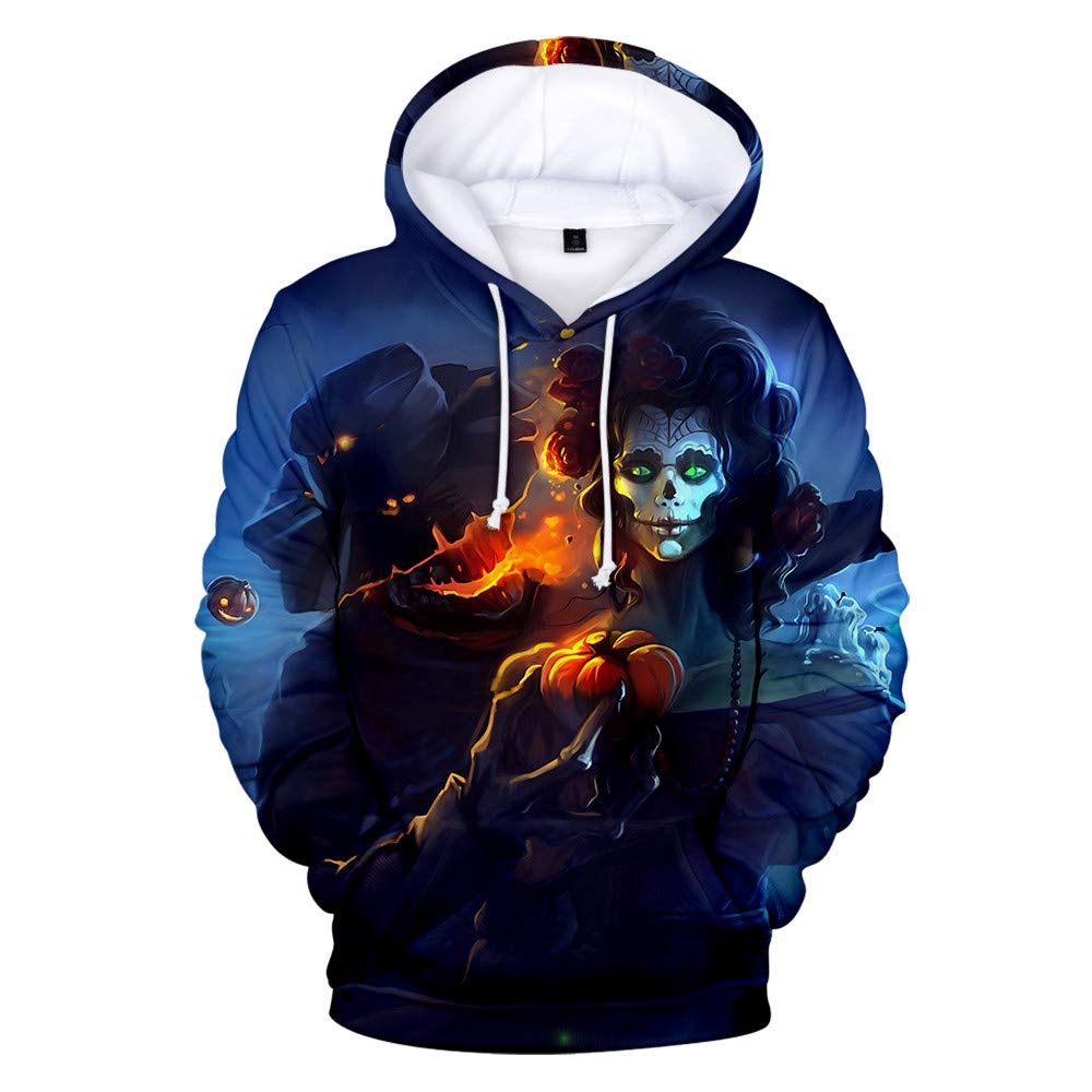 Tomppy Men's Hooded Sweatshirt Long Sleeve Scary Funny 3D Printed Pullover Hoodie Shirts Halloween Tops Black