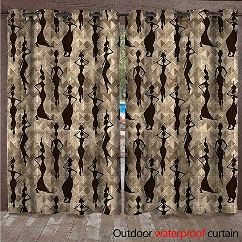(cobeDecor African Home Patio Outdoor Curtain Woman Carry Water Vases W84 x L108(214cm x 274cm))